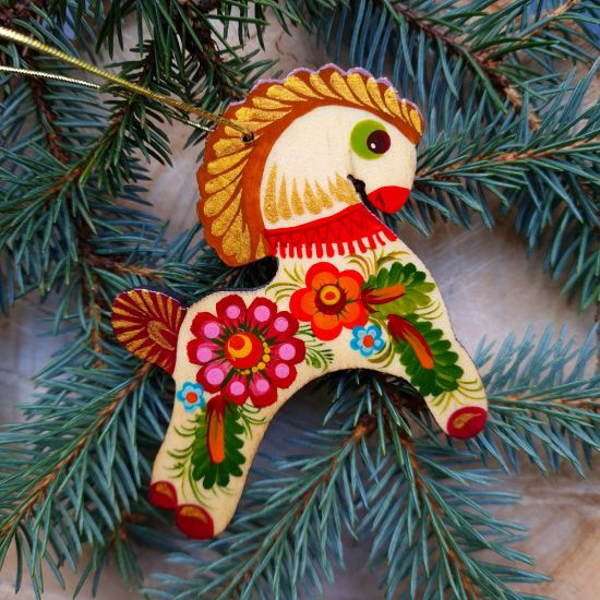 Rustic wooden Christmas ornaments Horse painted with Petrykivka painting