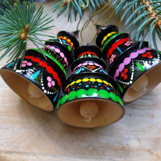 Bunter Christbaumschmuck -Glöckchen - Tannenbäumchen aus Holz