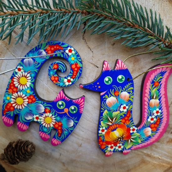 Christmas ornaments  funny animals - cat and fox
