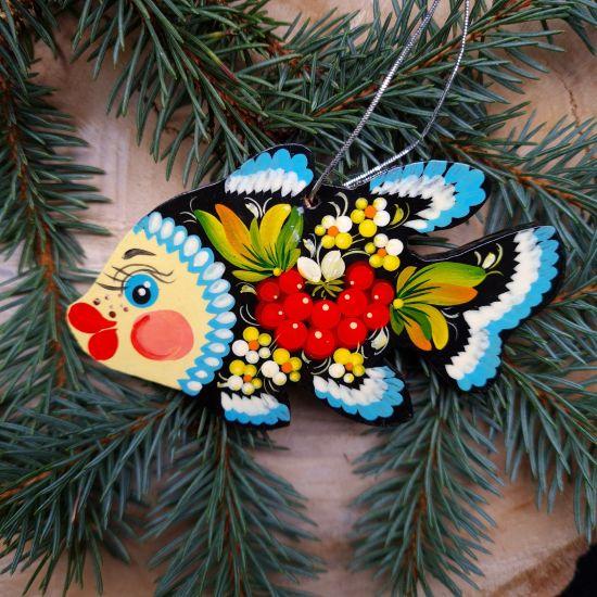 Weihnachtsbaumschmuck aus Holz Fisch schön bemalt