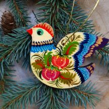 Wooden Christmas tree ornaments Bird with flower patterns