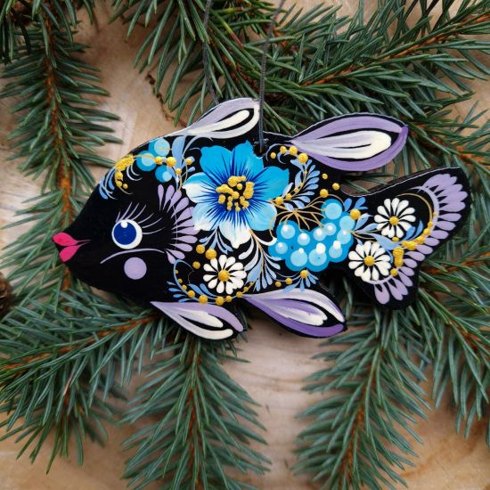 Fish Christmas decorations hand painted