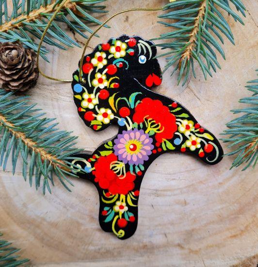 Wooden Christmas ornaments Horse ukrainian painted