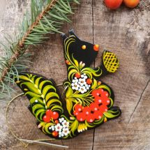 Wooden Christmas crnament squirrel, hand painted