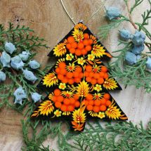 Wooden Christmas ornament  - tree  hand painted