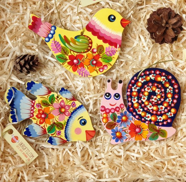 Wooden Christmas tree ornaments set for children, (bird, fish and snail), hand painting