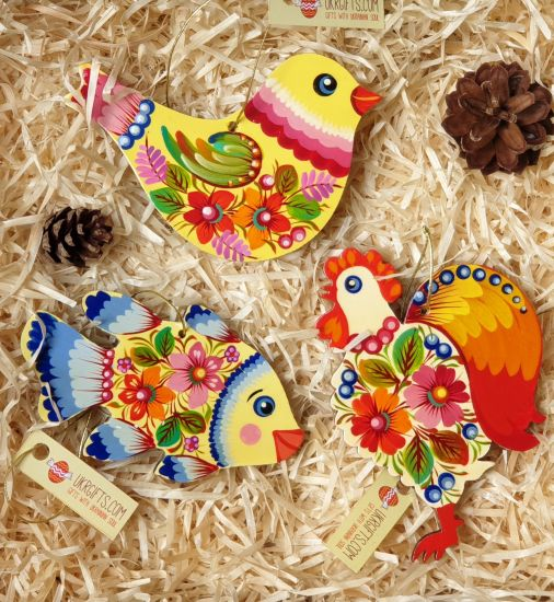 Wooden Christmas tree ornaments set for children, (bird, fish and rooster), hand painting