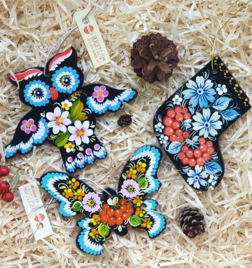 Wooden Christmas tree ornaments for children, (owl, butterfly and christmas sock), hand painting