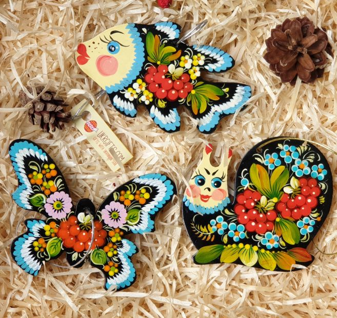 Wooden Christmas ornaments set for children, (butterfly, fish and snail), hand painting