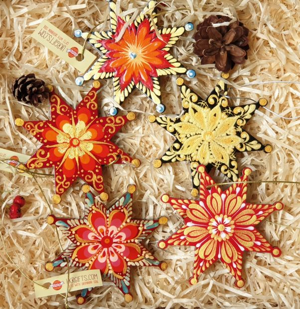 Christmas stars decoration, ethnic hand painting