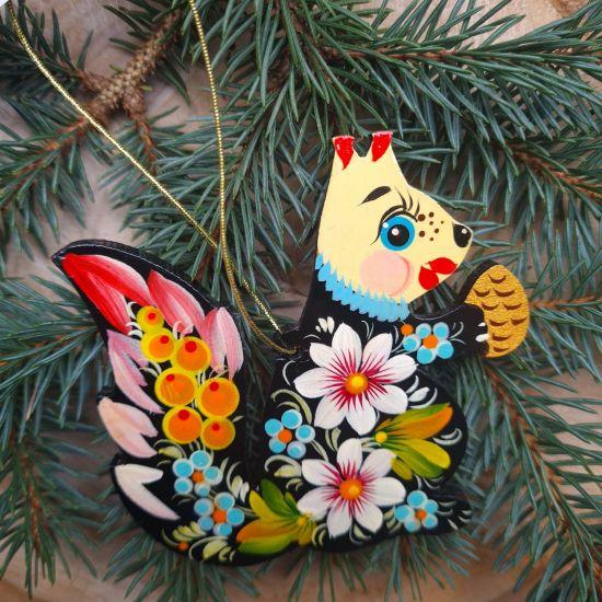 Schöner Christbaumschmuck Eichhörnchen-Tierfigur aus Holz