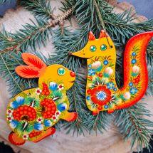 Animal Christmas ornaments fox and rabbit
