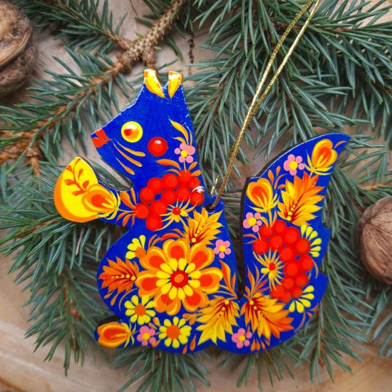 Squirrel Christmas tree decorations hand painted