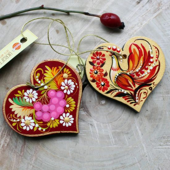 Small wooden hearts, Valentine's Day gift - lucky charm in the car, homedecor