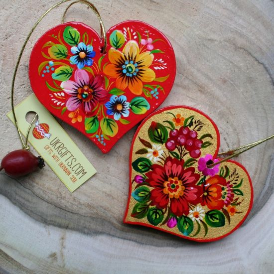 Two small wooden heart pendants, Valentine's Day gift - lucky charm in the car, deco for home