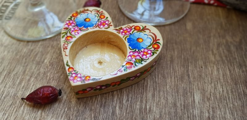 Heart shaped romantic gift, handmade wooden candlestick, ukrainian style