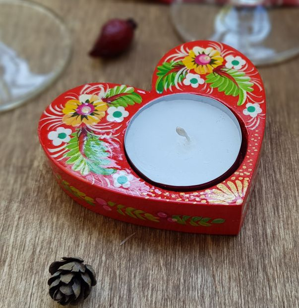 Heart shaped wooden candlestick, lovely hand made gift