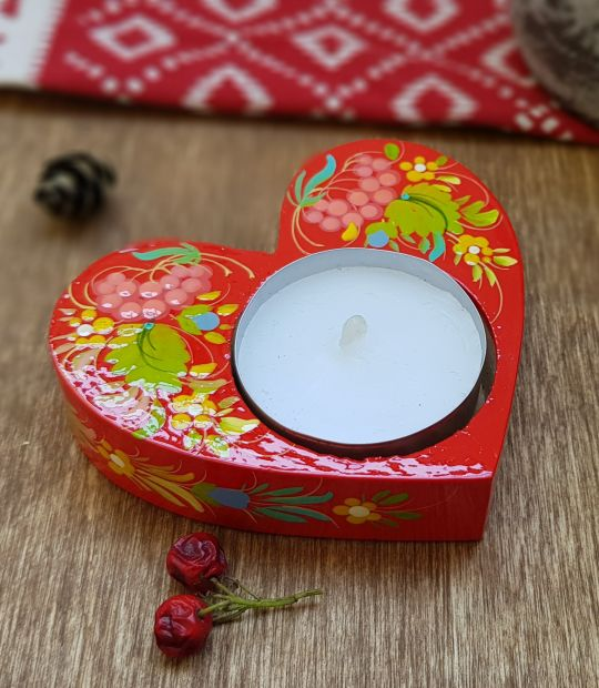 Heart shaped gift, beautiful handmade wooden candlestick with Petrykivka painting