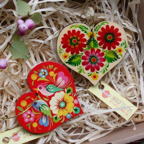 Handgemachten Herzen aus Holz, Valentinstag Geschenk -Glücksbringer im Auto, Schmuckanhänger