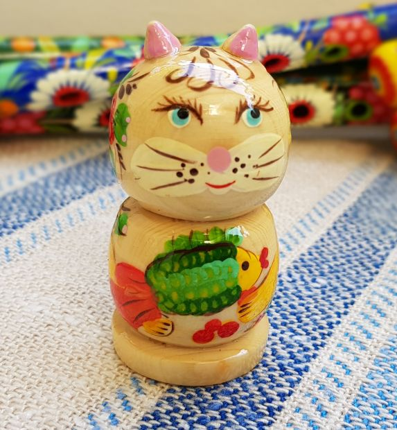 Wooden whistle Cat, handmade eco toy