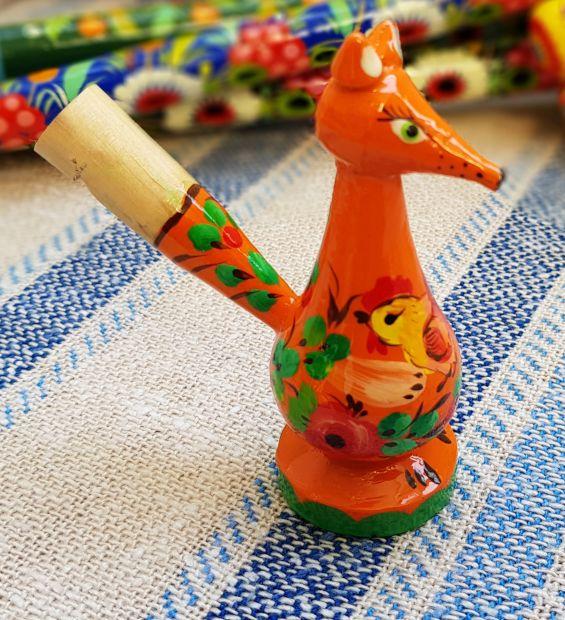 Wooden whistle Fox, handmade eco toy