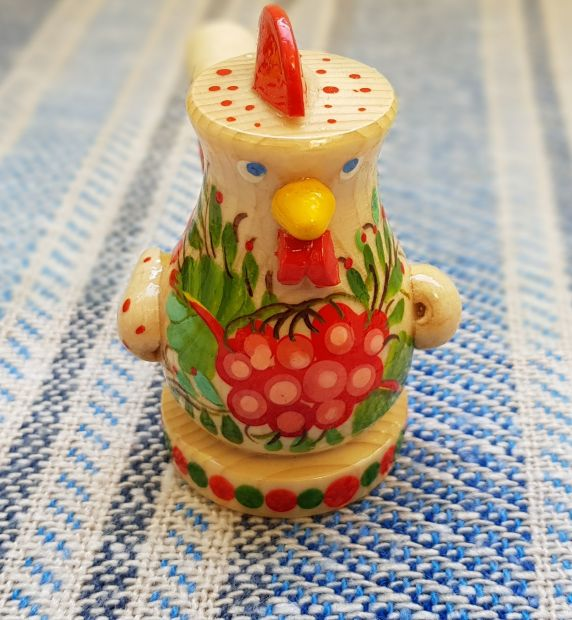 Handmade wooden whistle Rooster, eco toy