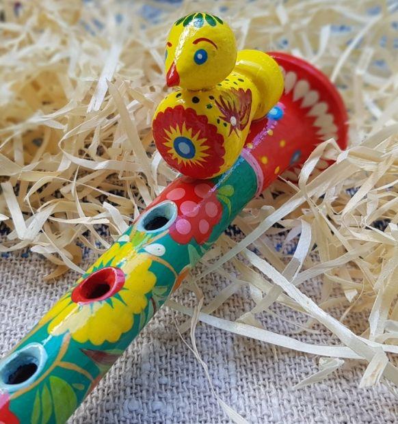 Handmade flute for children, music wooden toy, ukrainian Petrikivka painting