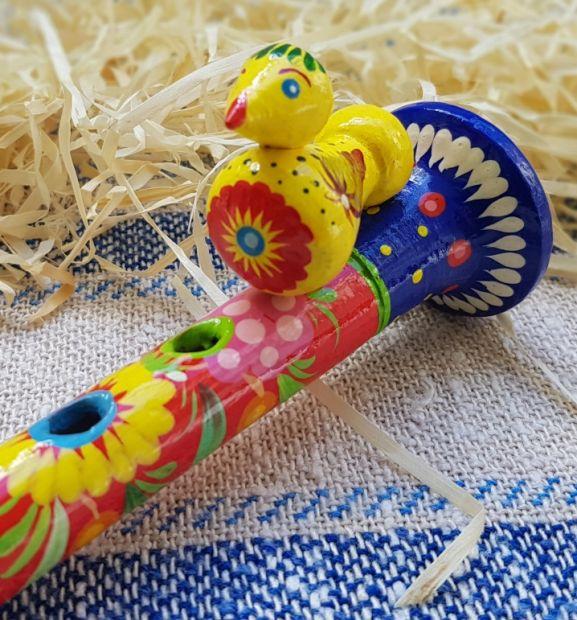 Wooden flute, educational music handmade toy for children, ukrainian traditional art