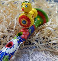 Wooden flute for children, music handmade toy, ukrainian Petrikivka painting