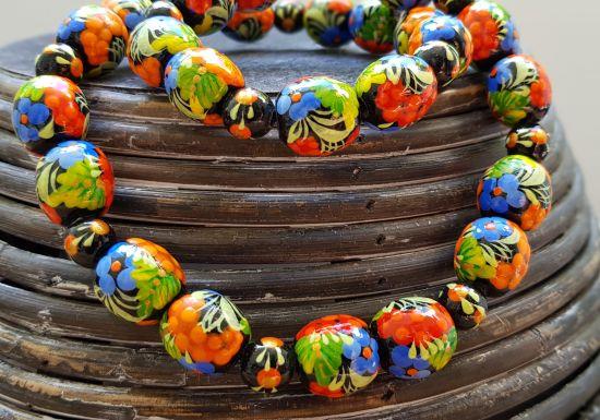 Holz Halskette von Hand bemalt mit Blumenmuster