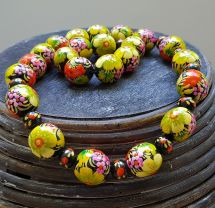 Fashion flower wooden beaded necklace, hand painted in ukrainian style