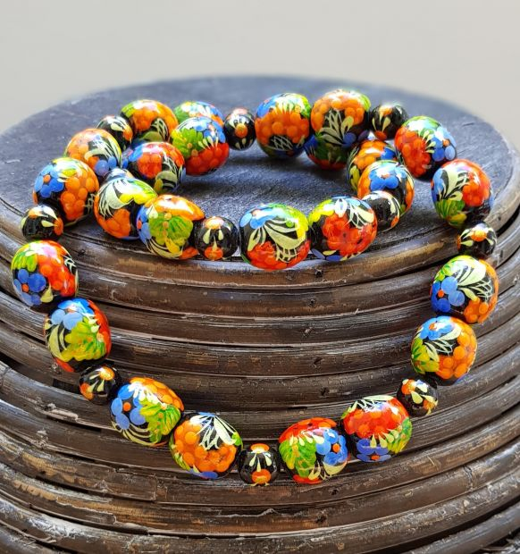 Unique wooden bead necklace, hand painted with flowers