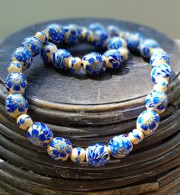 Wooden beaded necklace with blue flowers, folk ukrainian fashion, hand painted