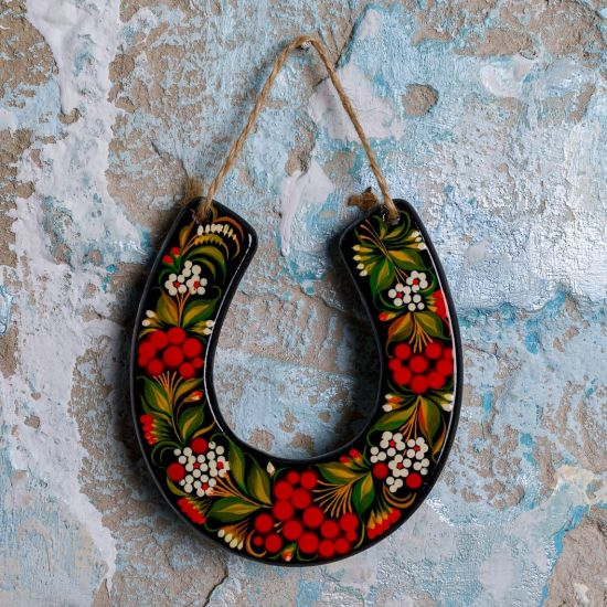 Lucky charm horseshoe to hang, traditional wood painting