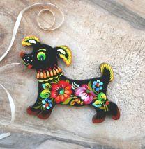 Lustiger Hund - schöner Magnet aus Holz