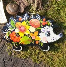 Сute hedgehog Christmas ornament, wooden, hand painted on both sides