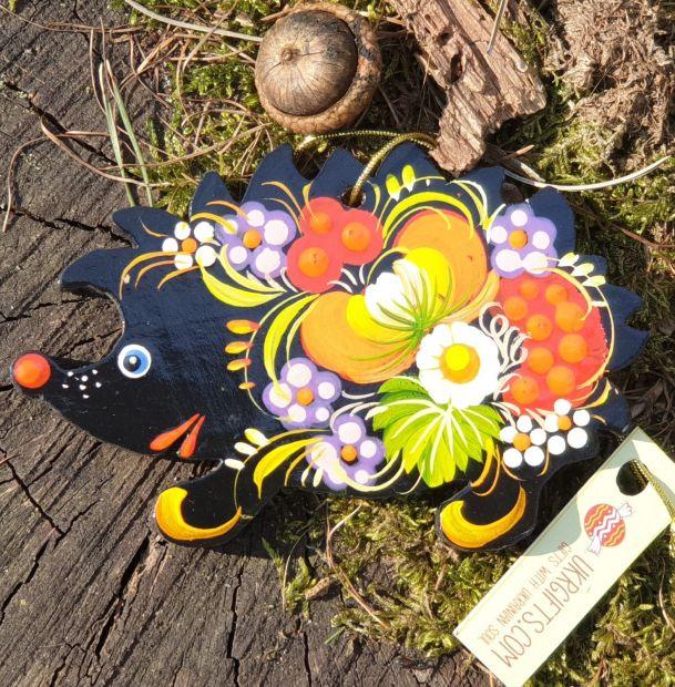 Animal Christmas ornament hedgehog, wooden, ukrainian art