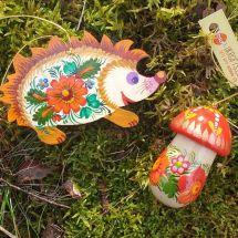 Tiere Weihnachtsdekoration Igel mit Pilz Kunsthandwerk aus Holz