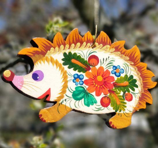 Hedgehog wooden Christmas ornaments for Hedgehog lovers in ukrainian art