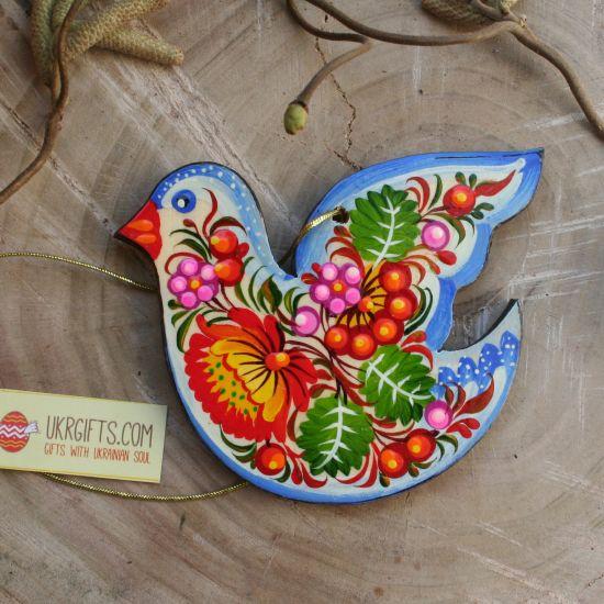 Pretty painted bird - Easter tree dekoration - Ukrainian painting