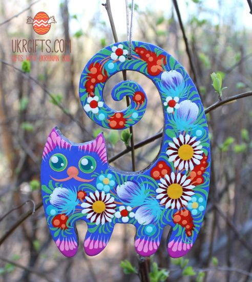 Cat wooden ornament, ukrainian hand painting on both sides