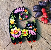 Funny cat fridge magnet, creative gift for cat lovers, Petrykivka painting