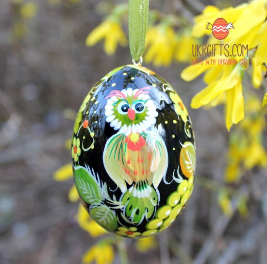 Wooden Easter egg  with painted owl, ukrainian pysanka
