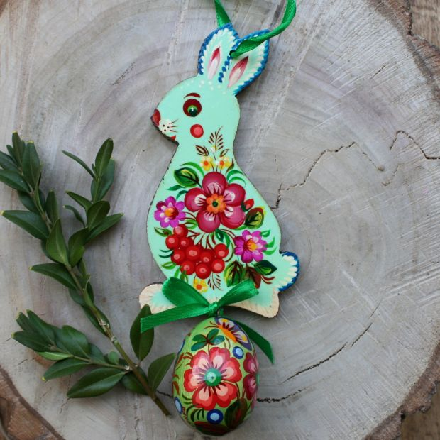 Easter bunny with egg -  wooden Easter tree ornaments - Ukrainian painting