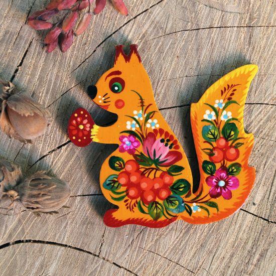 Schönes Eichhörnchen Kühlschrankmagnet -Waldtiere Magnete aus Holz