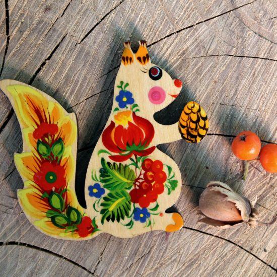 Squirrel fridge magnet - pretty handmade animals magnets