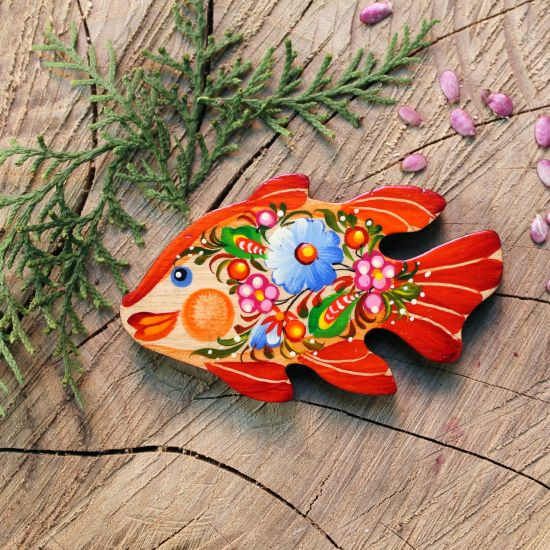 Fish fridge magnet, small handmade gift, ukrainian painting