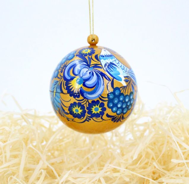 Golden hand painted Christmas tree ball, ukrainian painting (05)