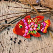Pretty fish fridge magnet, small gift, hand painting