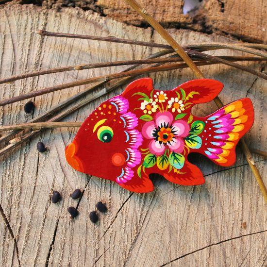 Kühlschrankmagnet aus Holz Thema - Fisch- Petrykiwka-malerei